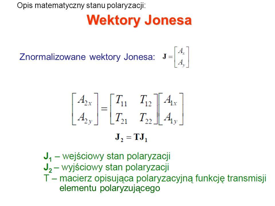 Wektory Jonesa i macierze Jonesa przykładowych elementów: