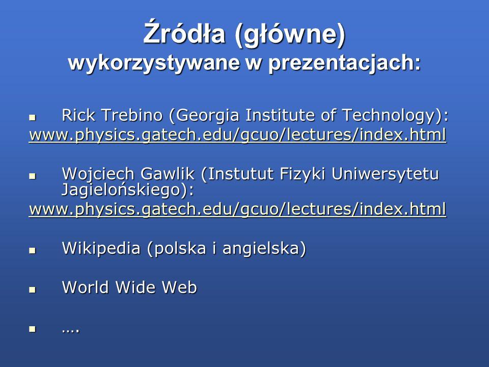 Źródła (główne) wykorzystywane w prezentacjach: Rick Trebino (Georgia Institute of Technology): Rick Trebino (Georgia Institute of Technology): www.ph