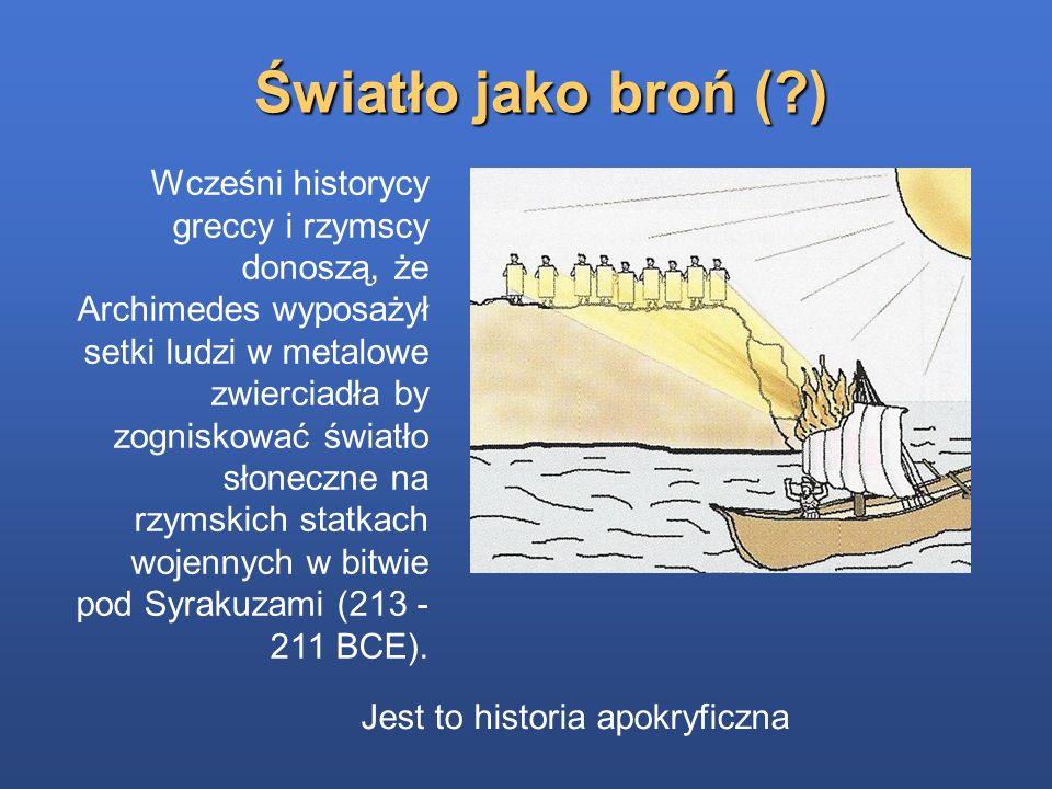 Wcześni historycy greccy i rzymscy donoszą, że Archimedes wyposażył setki ludzi w metalowe zwierciadła by zogniskować światło słoneczne na rzymskich s