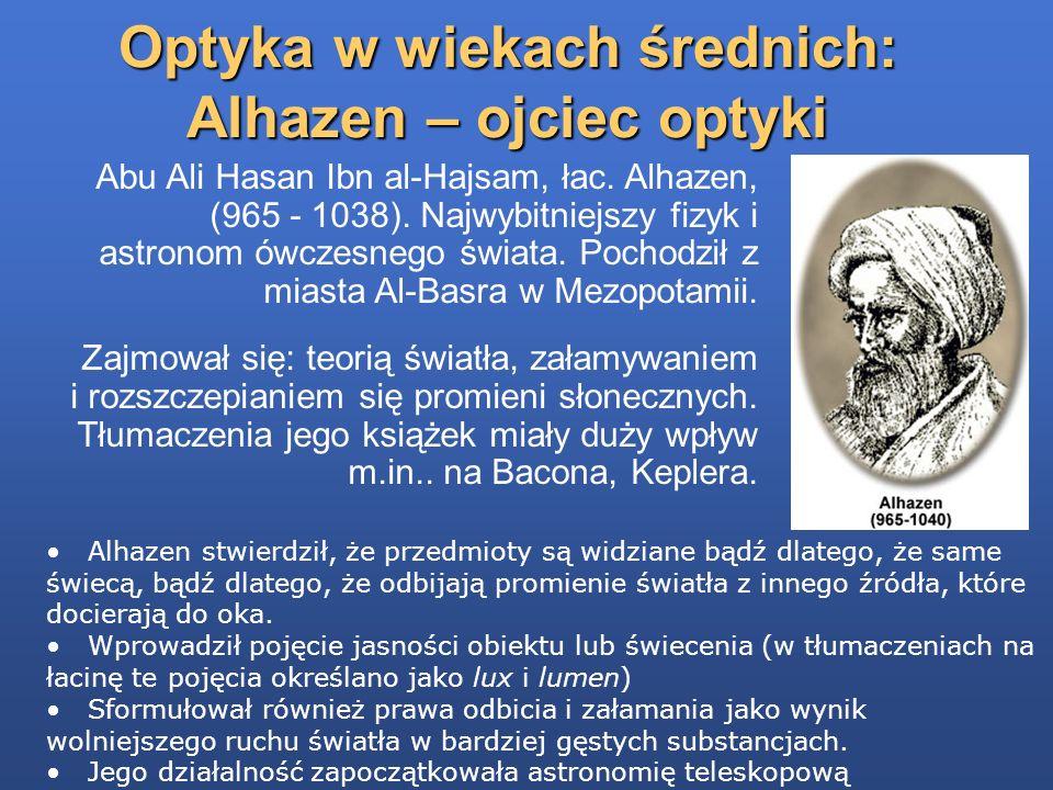 Optyka w wiekach średnich: Alhazen – ojciec optyki Abu Ali Hasan Ibn al-Hajsam, łac. Alhazen, (965 - 1038). Najwybitniejszy fizyk i astronom ówczesneg