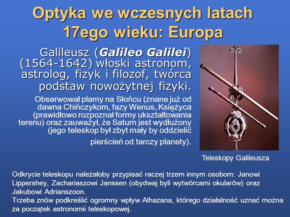 Optyka we wczesnych latach 17ego wieku: Europa Teleskopy Galileusza http://www.teleskopy.pl/historia_teleskopu.html Odkrycie teleskopu należałoby przy