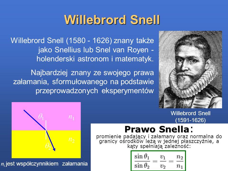 Willebrord Snell Willebrord Snell (1580 - 1626) znany także jako Snellius lub Snel van Royen - holenderski astronom i matematyk. Najbardziej znany ze