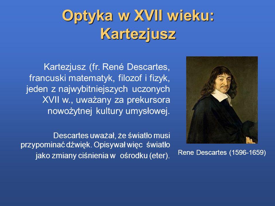 Optyka w XVII wieku: Kartezjusz Kartezjusz (fr. René Descartes, francuski matematyk, filozof i fizyk, jeden z najwybitniejszych uczonych XVII w., uważ