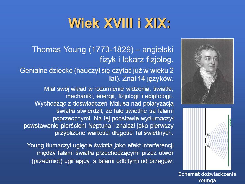 Wiek XVIII i XIX: Thomas Young (1773-1829) – angielski fizyk i lekarz fizjolog. Genialne dziecko (nauczył się czytać już w wieku 2 lat). Znał 14 język