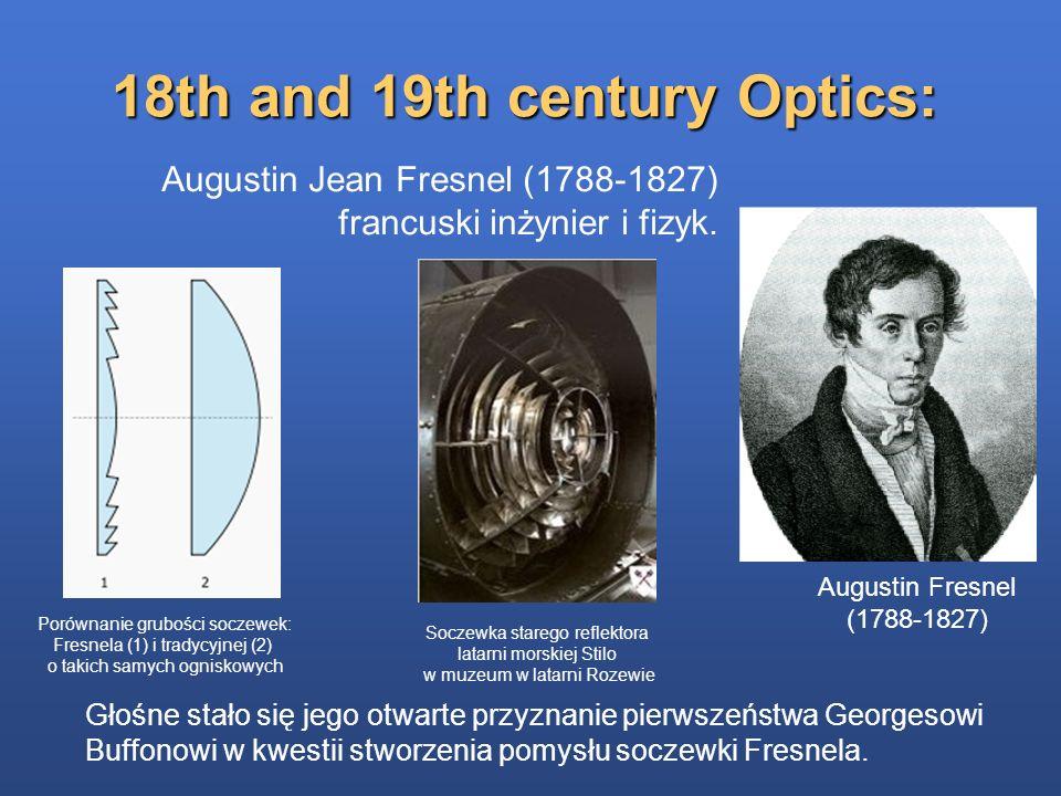 18th and 19th century Optics: Augustin Fresnel (1788-1827) Augustin Jean Fresnel (1788-1827) francuski inżynier i fizyk. Porównanie grubości soczewek: