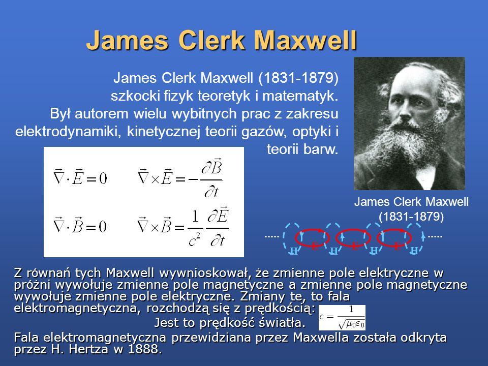 James Clerk Maxwell James Clerk Maxwell (1831-1879) szkocki fizyk teoretyk i matematyk. Był autorem wielu wybitnych prac z zakresu elektrodynamiki, ki