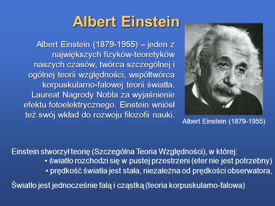 Albert Einstein Albert Einstein (1879-1955) – jeden z największych fizyków-teoretyków naszych czasów, twórca szczególnej i ogólnej teorii względności,