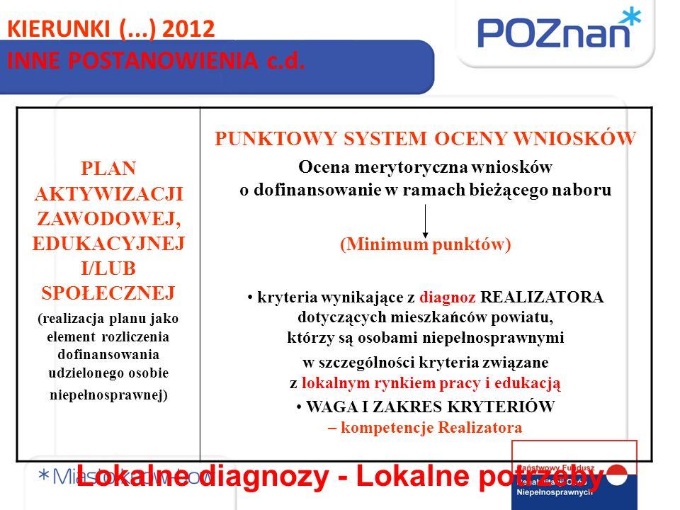 PLAN AKTYWIZACJI ZAWODOWEJ, EDUKACYJNEJ I/LUB SPOŁECZNEJ (realizacja planu jako element rozliczenia dofinansowania udzielonego osobie niepełnosprawnej