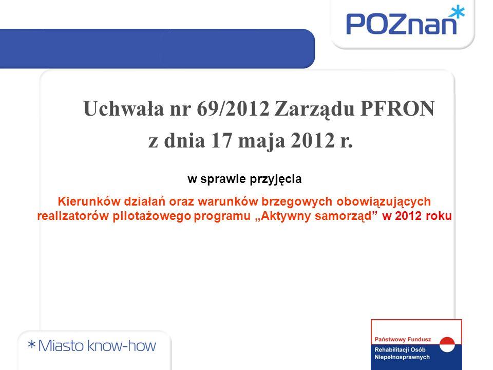 w sprawie przyjęcia Kierunków działań oraz warunków brzegowych obowiązujących realizatorów pilotażowego programu Aktywny samorząd w 2012 roku Uchwała