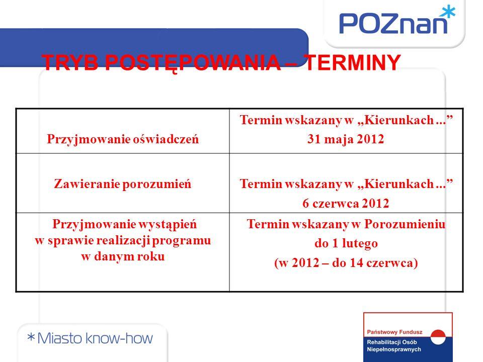 Przyjmowanie oświadczeń Termin wskazany w Kierunkach... 31 maja 2012 Zawieranie porozumieńTermin wskazany w Kierunkach... 6 czerwca 2012 Przyjmowanie