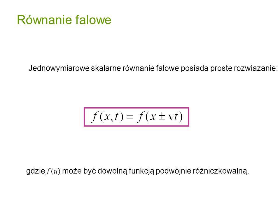 gdzie f (u) może być dowolną funkcją podwójnie różniczkowalną. Jednowymiarowe skalarne równanie falowe posiada proste rozwiazanie: Równanie falowe