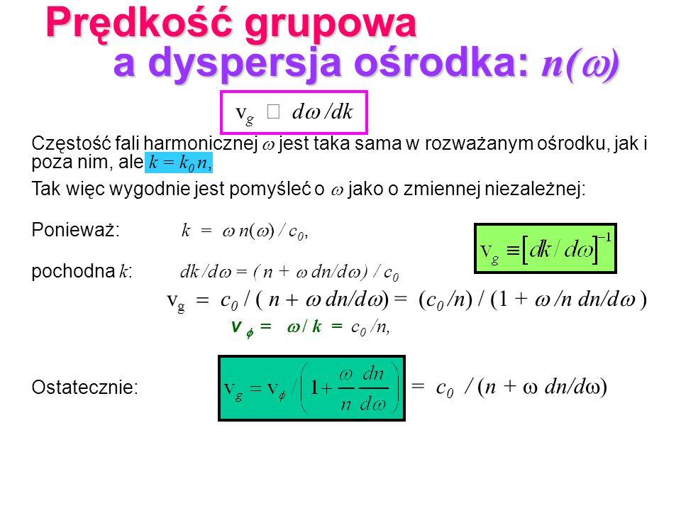 v g d /dk Częstość fali harmonicznej jest taka sama w rozważanym ośrodku, jak i poza nim, ale k = k 0 n, Tak więc wygodnie jest pomyśleć o jako o zmie
