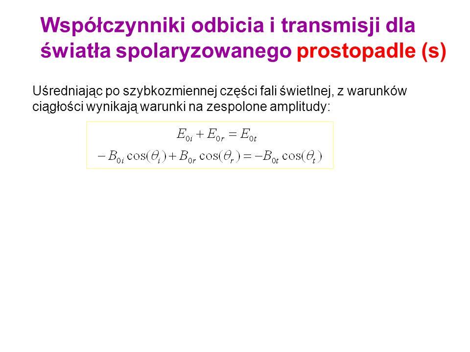 Składowe styczne pola magnetycznego są ciągłe Dla polaryzacji prostopadłej: pole B leży w płaszczyźnie (xy), musimy więc wziąć składowe x : nini ntnt