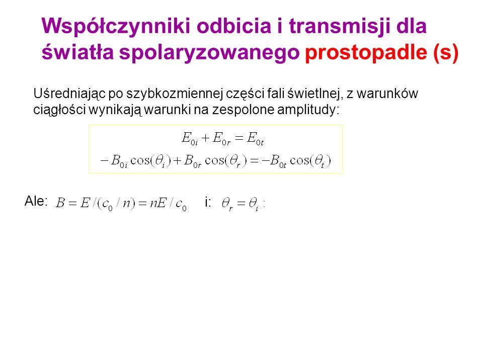 Uśredniając po szybkozmiennej części fali świetlnej, z warunków ciągłości wynikają warunki na zespolone amplitudy: Ale: i: Ponieważ: Współczynniki odb