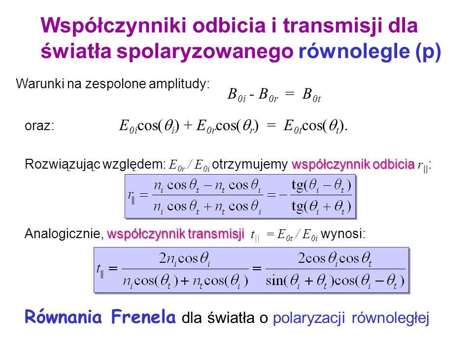 x y z nini ntnt i r t EiEi BiBi ErEr BrBr EtEt BtBt Miedzypowierzchnia Współczynniki odbicia i transmisji dla światła spolaryzowanego równolegle (p) P
