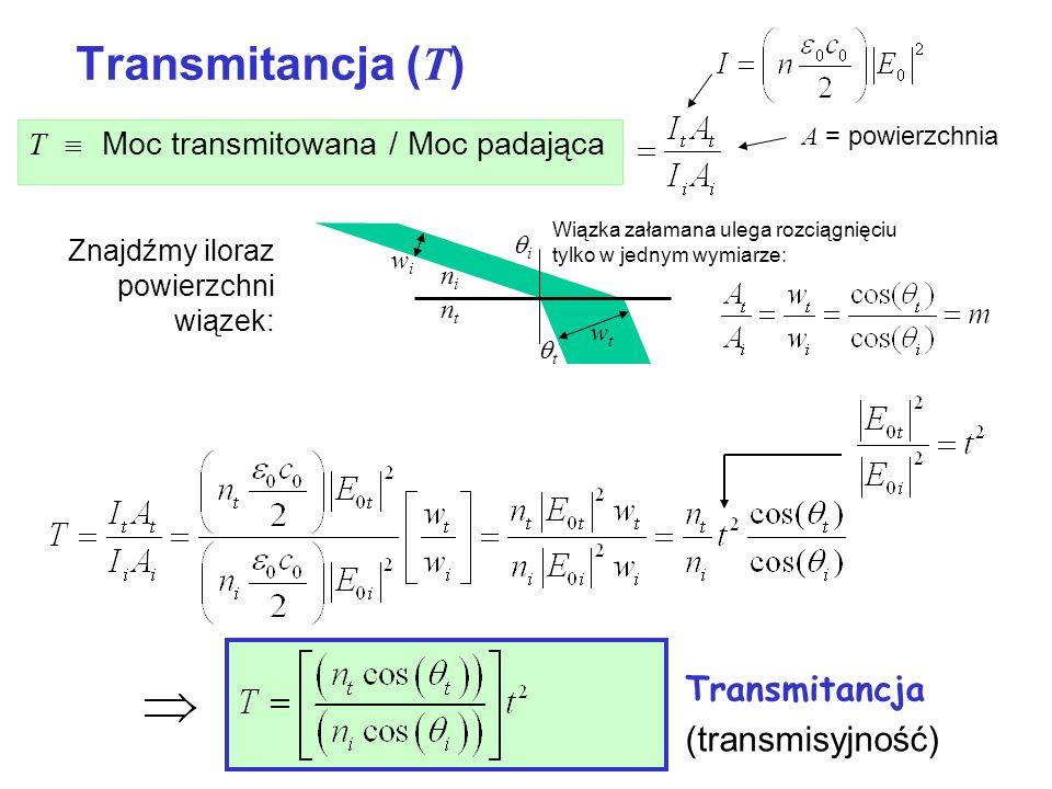 Transmitancja ( T ) T Moc transmitowana / Moc padająca t i wiwi wtwt nini ntnt A = powierzchnia Znajdźmy iloraz powierzchni wiązek: Wiązka załamana ul