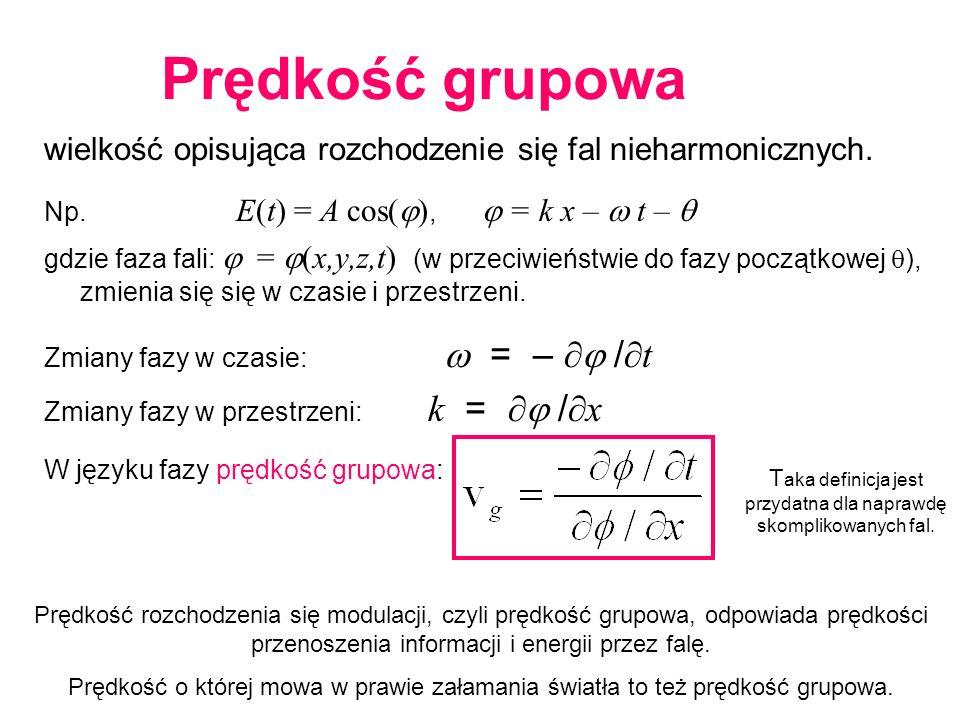 wielkość opisująca rozchodzenie się fal nieharmonicznych. Np. E(t) = A cos( ), = k x – t – gdzie faza fali: = (x,y,z,t) (w przeciwieństwie do fazy poc
