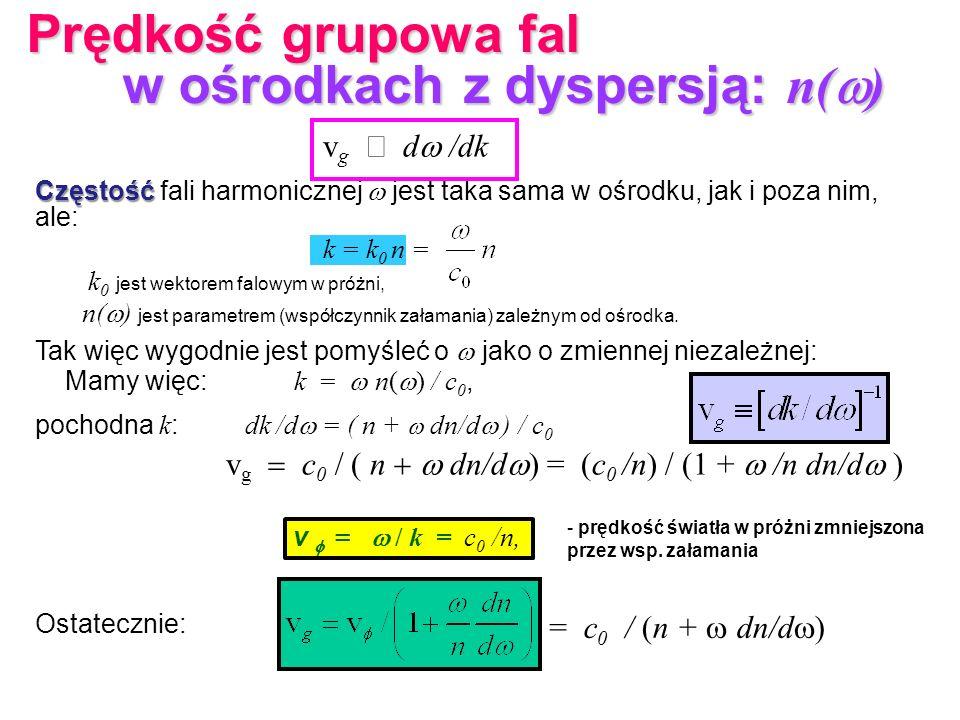 Częstość Częstość fali harmonicznej jest taka sama w ośrodku, jak i poza nim, ale: k = k 0 n = k 0 jest wektorem falowym w próżni, n( ) jest parametre