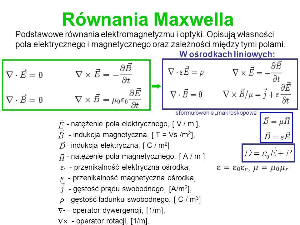 Równania Maxwella - natężenie pola elektrycznego, [ V / m ], - indukcja magnetyczna, [ T = Vs /m 2 ], - indukcja elektryczna, [ C / m 2 ] - natężenie