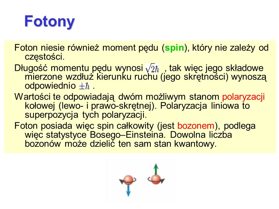 Foton niesie również moment pędu (spin), który nie zależy od częstości. Długość momentu pędu wynosi, tak więc jego składowe mierzone wzdłuż kierunku r