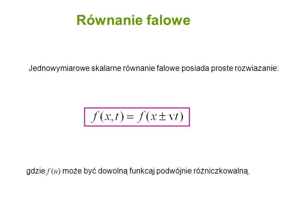 gdzie f (u) może być dowolną funkcąj podwójnie różniczkowalną. Jednowymiarowe skalarne równanie falowe posiada proste rozwiazanie: Równanie falowe