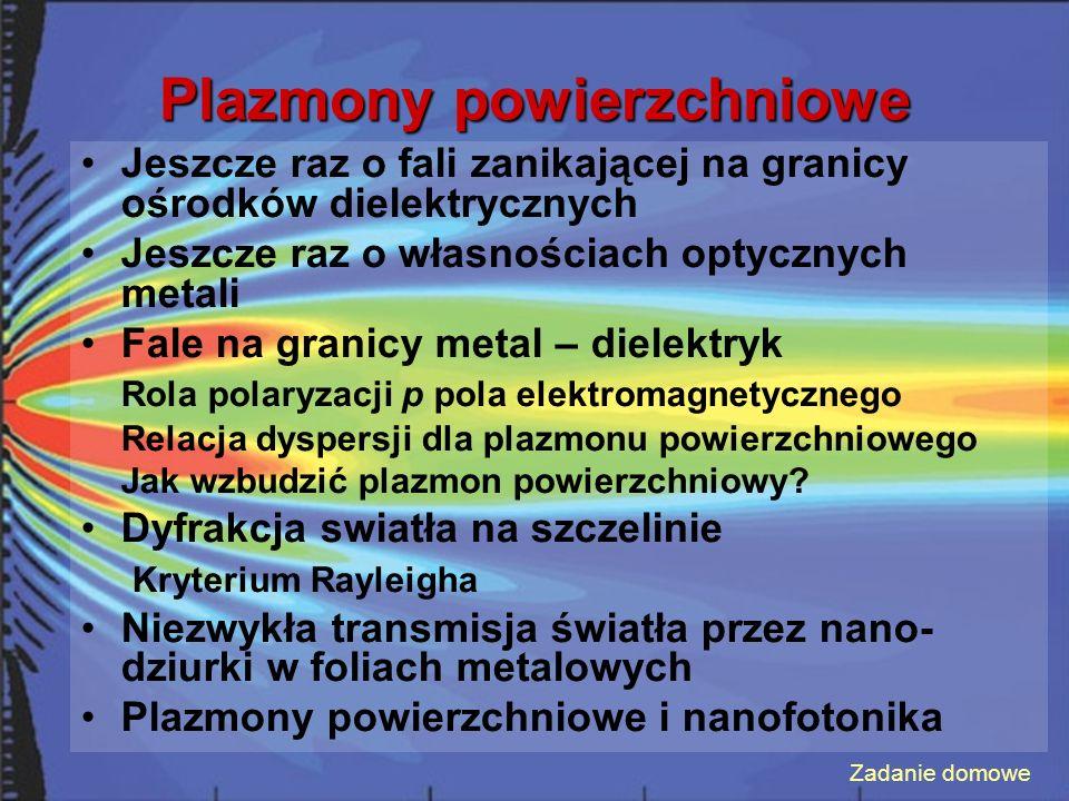 Plazmony powierzchniowe Jeszcze raz o fali zanikającej na granicy ośrodków dielektrycznych Jeszcze raz o własnościach optycznych metali Fale na granicy metal – dielektryk Rola polaryzacji p pola elektromagnetycznego Relacja dyspersji dla plazmonu powierzchniowego Jak wzbudzić plazmon powierzchniowy.