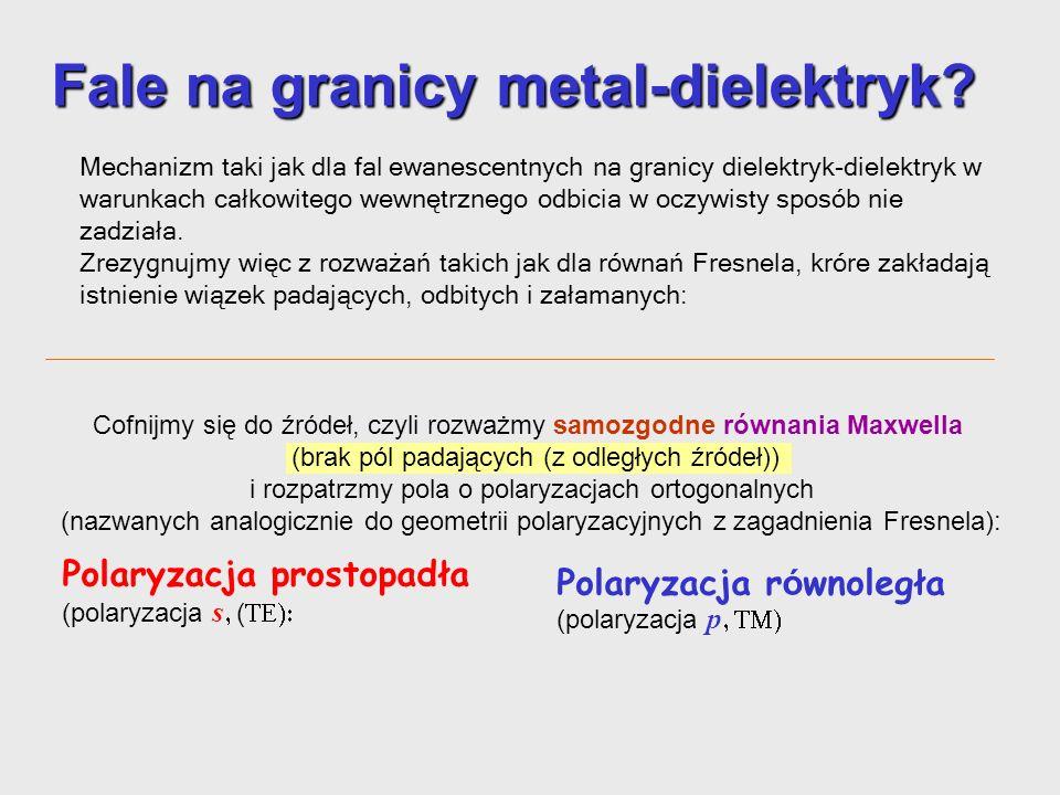 Fale na granicy metal-dielektryk? Mechanizm podobny do fal ewanescentnych na granicy dielektryk-dielektryk (w warunkach całkowitego wewnętrznego) odbi