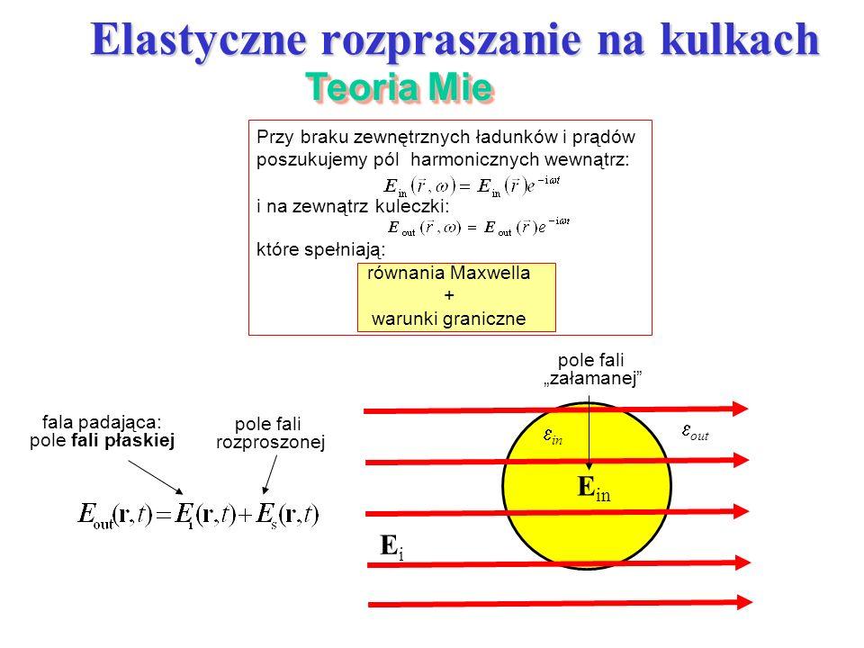 Przy braku zewnętrznych ładunków i prądów poszukujemy pól harmonicznych wewnątrz: i na zewnątrz kuleczki: które spełniają: równania Maxwella + warunki