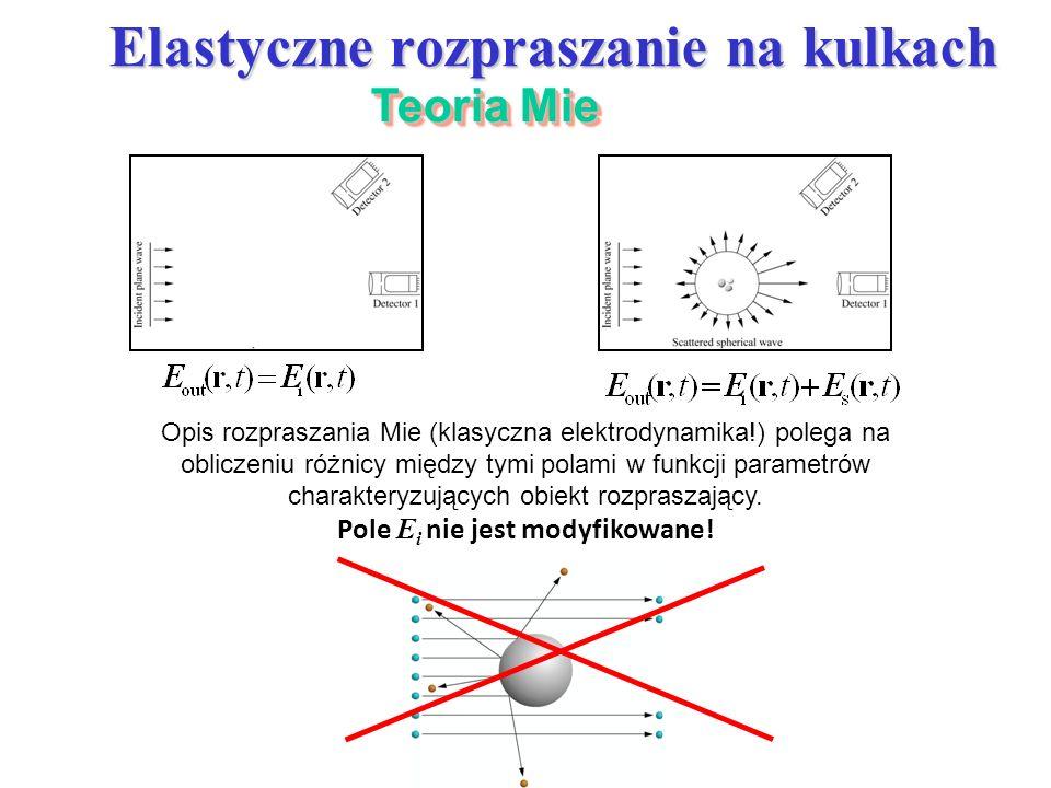 Elastyczne rozpraszanie na kulkach Teoria Mie Opis rozpraszania Mie (klasyczna elektrodynamika!) polega na obliczeniu różnicy między tymi polami w fun