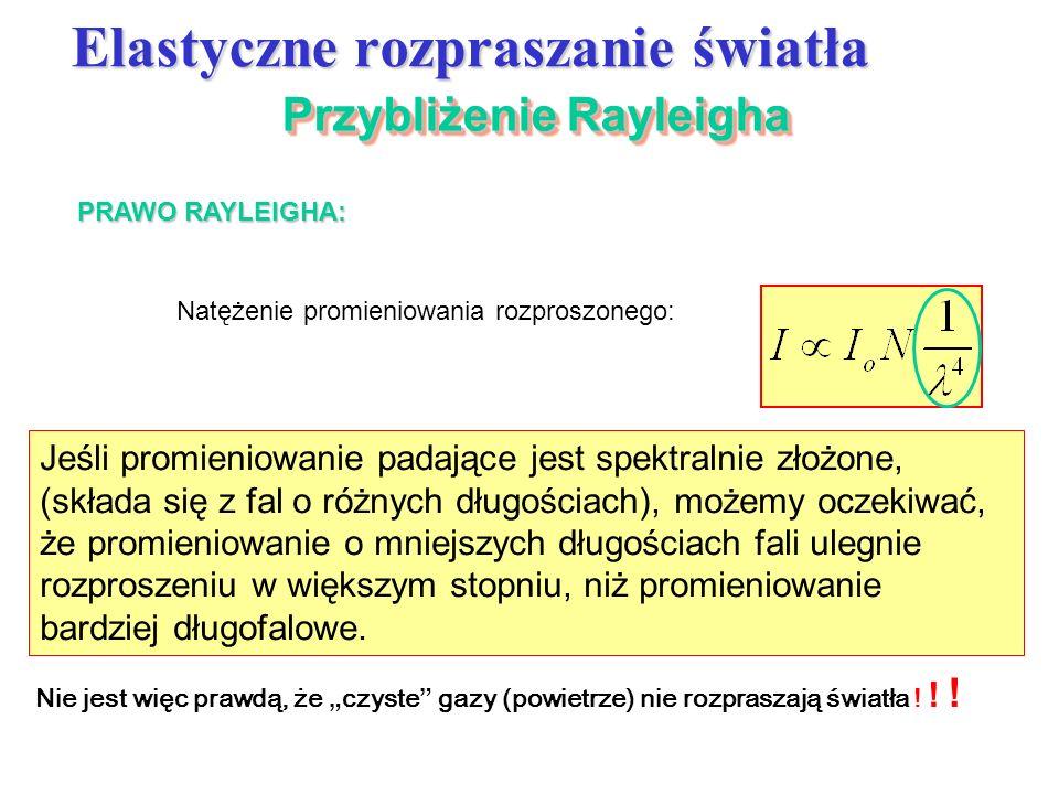 Przybliżenie Rayleigha Elastyczne rozpraszanie światła PRAWO RAYLEIGHA: Natężenie promieniowania rozproszonego: Jeśli promieniowanie padające jest spe