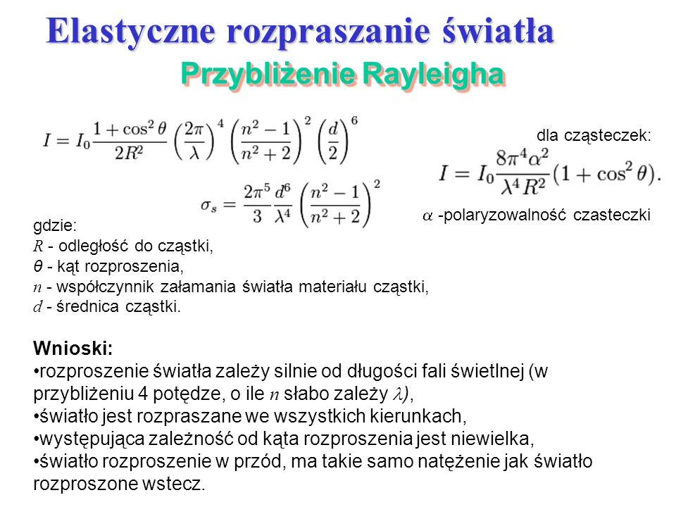 Przybliżenie Rayleigha Elastyczne rozpraszanie światła gdzie: R - odległość do cząstki, θ - kąt rozproszenia, n - współczynnik załamania światła mater