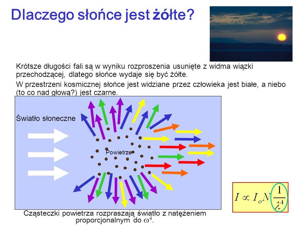 Cząsteczki powietrza rozpraszają światło z natężeniem proporcjonalnym do 4. Krótsze długości fali są w wyniku rozproszenia usunięte z widma wiązki prz