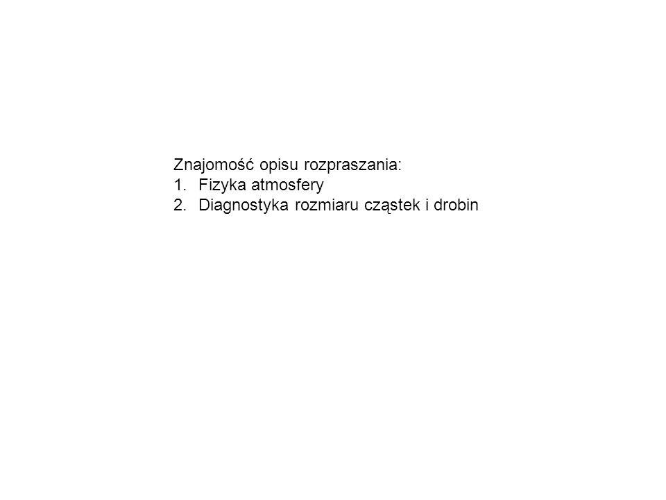 Znajomość opisu rozpraszania: 1.Fizyka atmosfery 2.Diagnostyka rozmiaru cząstek i drobin