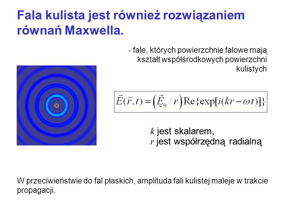 Fala kulista jest również rozwiązaniem równań Maxwella. k jest skalarem, r jest współrzędną radialną W przeciwieństwie do fal płaskich, amplituda fali