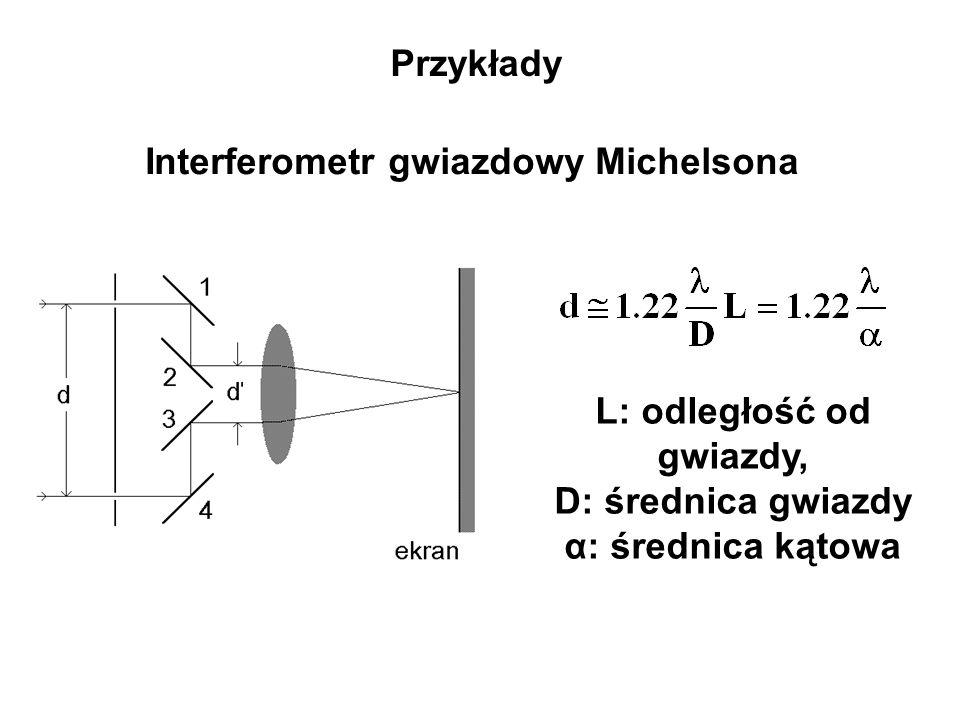 Przykłady Interferometr gwiazdowy Michelsona L: odległość od gwiazdy, D: średnica gwiazdy α: średnica kątowa