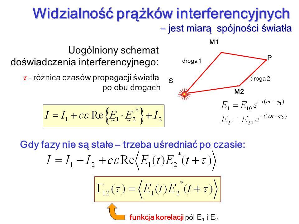 Uogólniony schemat doświadczenia interferencyjnego: M1 M2 P S droga 1 droga 2 - różnica czasów propagacji światła po obu drogach Widzialność prążków i