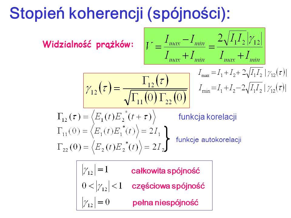 Stopień koherencji (spójności): funkcje autokorelacji funkcja korelacji całkowita spójność częściowa spójność pełna niespójność Widzialność prążków: