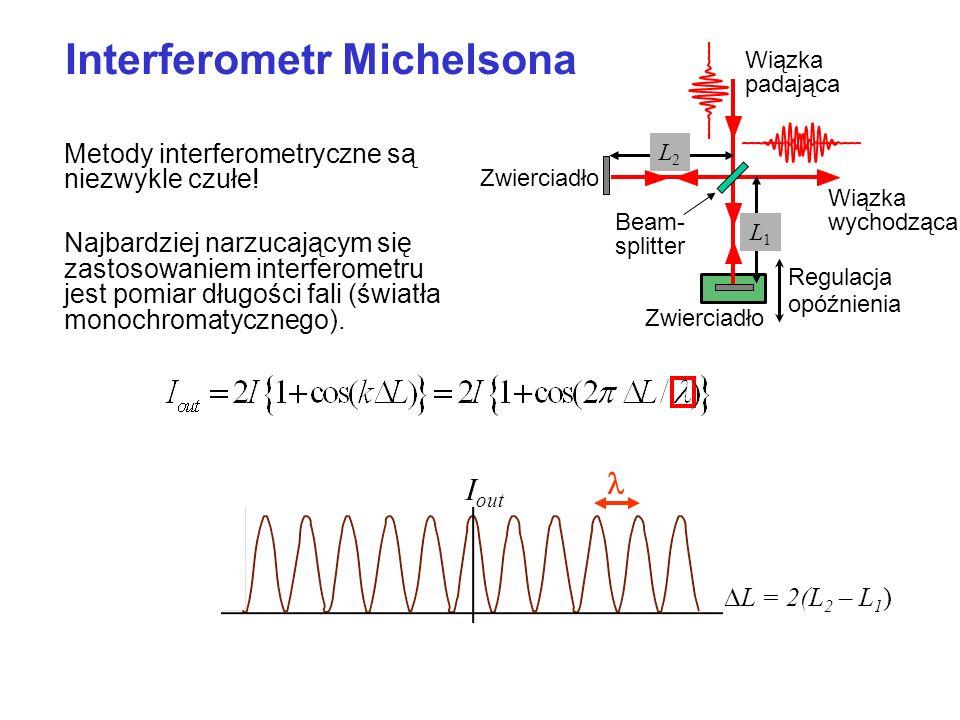 Metody interferometryczne są niezwykle czułe! Najbardziej narzucającym się zastosowaniem interferometru jest pomiar długości fali (światła monochromat