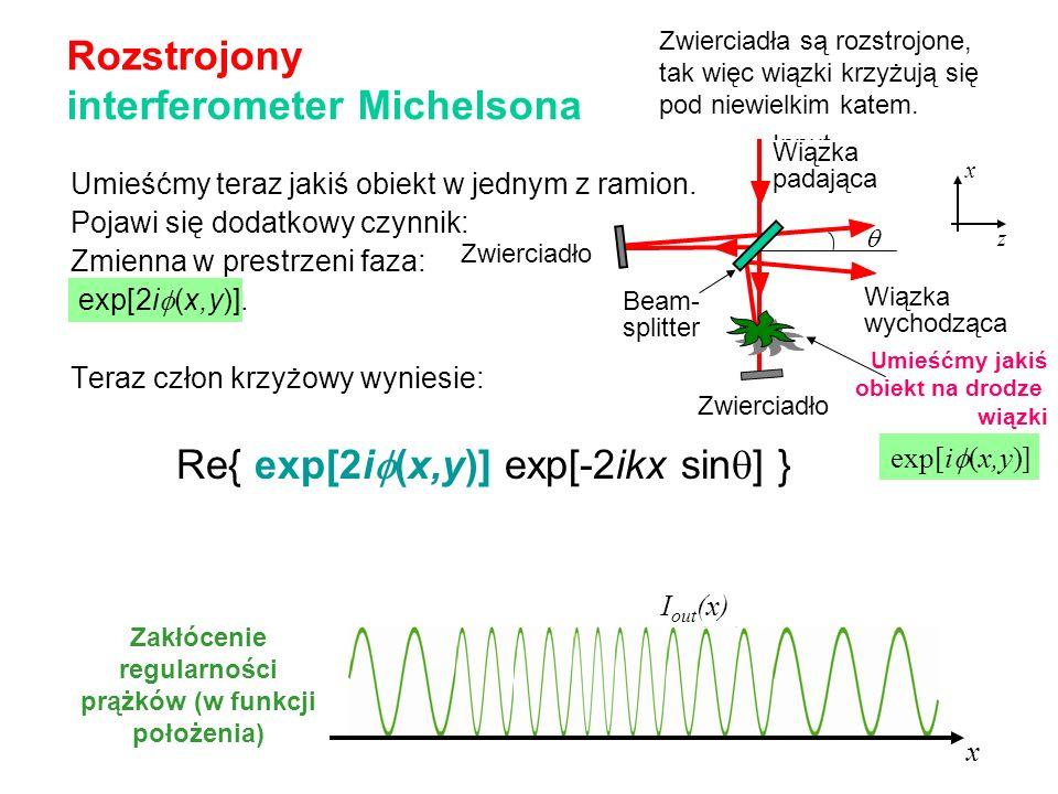 Umieśćmy teraz jakiś obiekt w jednym z ramion. Pojawi się dodatkowy czynnik: Zmienna w prestrzeni faza: exp[2i (x,y)]. Teraz człon krzyżowy wyniesie: