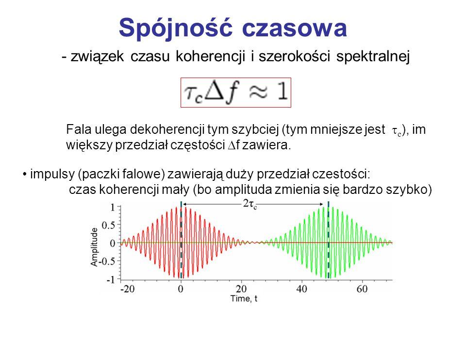 Spójność czasowa Fala ulega dekoherencji tym szybciej (tym mniejsze jest c ), im większy przedział częstości f zawiera. światło białe – b. duży przedz