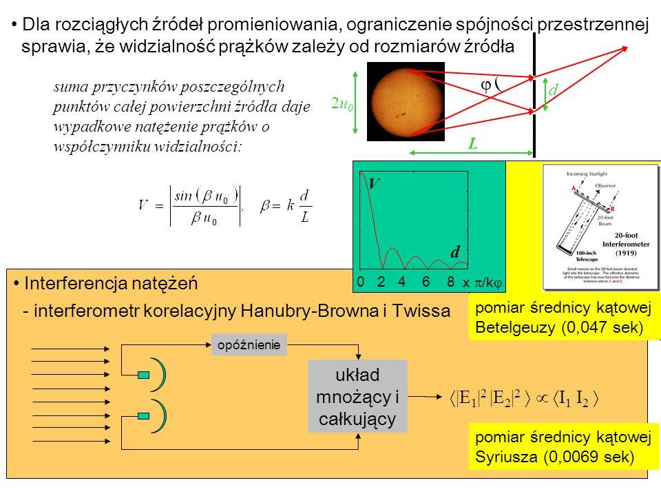 Dla rozciągłych źródeł promieniowania, ograniczenie spójności przestrzennej sprawia, że widzialność prążków zależy od rozmiarów źródła suma przyczynkó