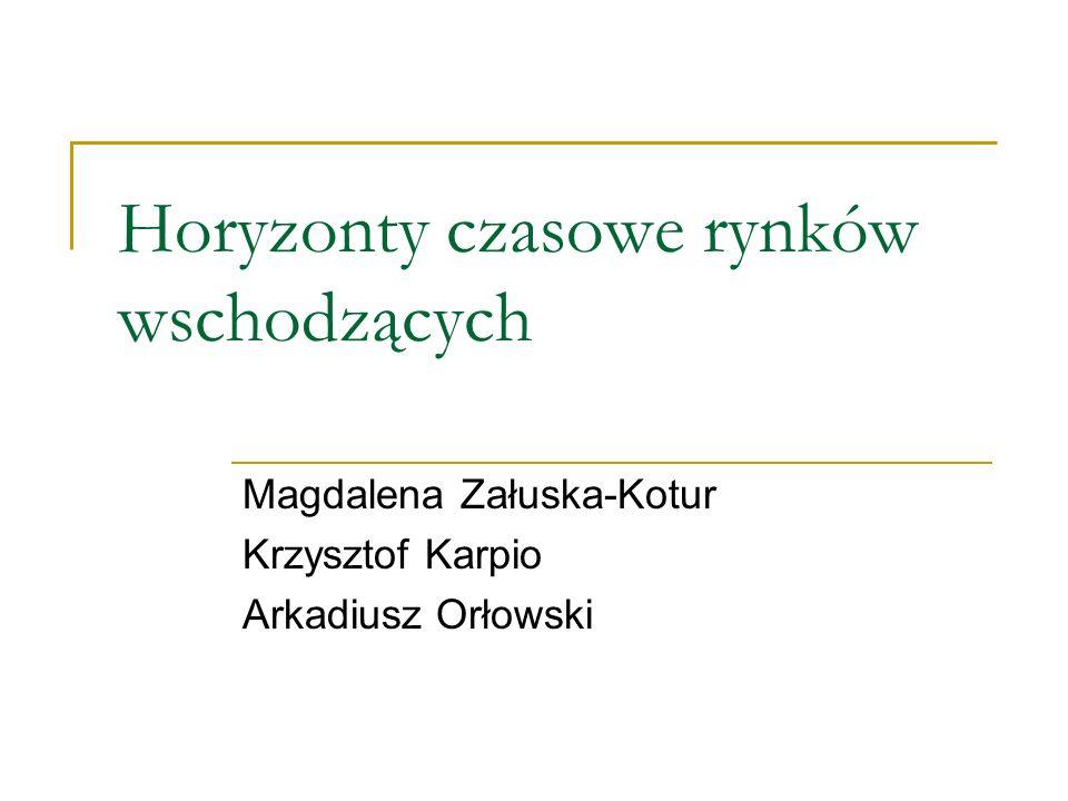 Horyzonty czasowe rynków wschodzących Magdalena Załuska-Kotur Krzysztof Karpio Arkadiusz Orłowski