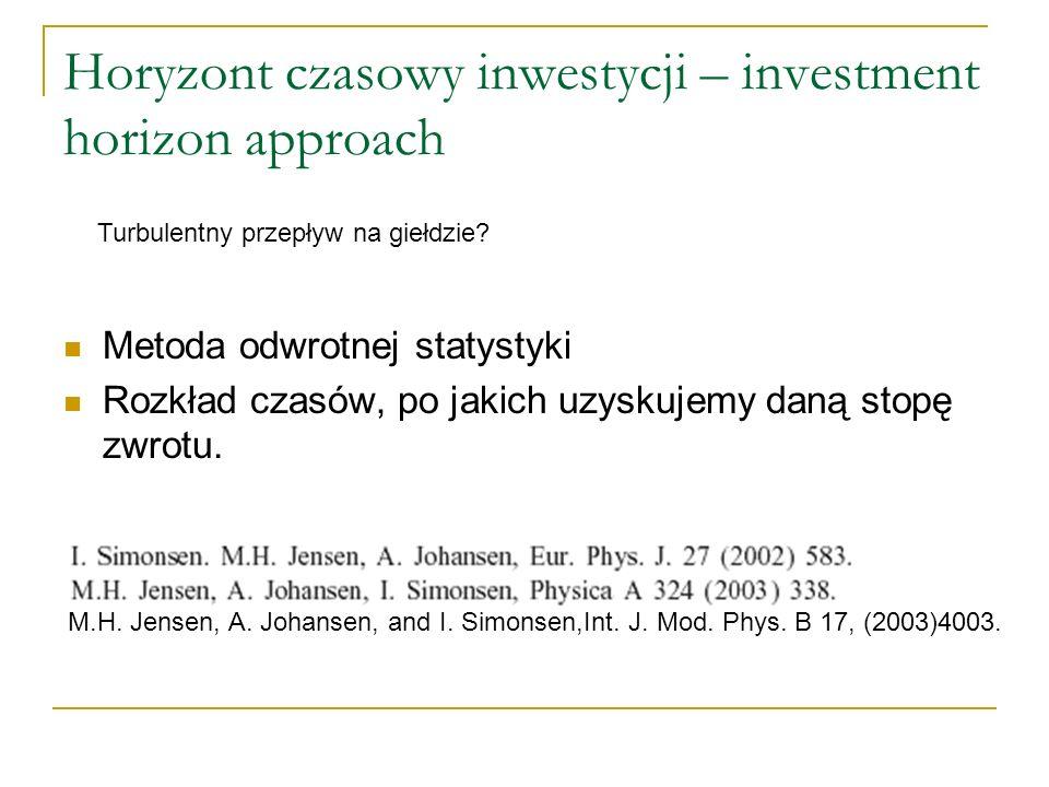 Horyzont czasowy inwestycji – investment horizon approach Metoda odwrotnej statystyki Rozkład czasów, po jakich uzyskujemy daną stopę zwrotu. Turbulen