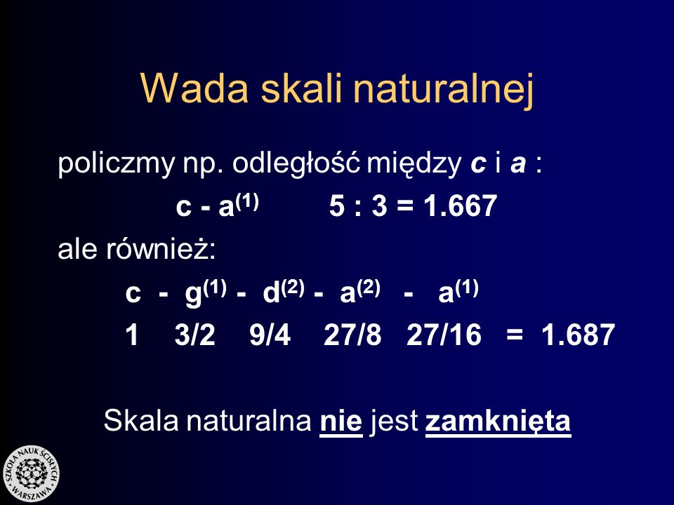 Skala naturalna pryma1 : 1 półton25 : 24 16 : 15 cały ton mały10 : 9 cały ton wielki9 : 8 tercja mała6 : 5 tercja wielka5 : 4 kwarta czysta4 : 3 kwint