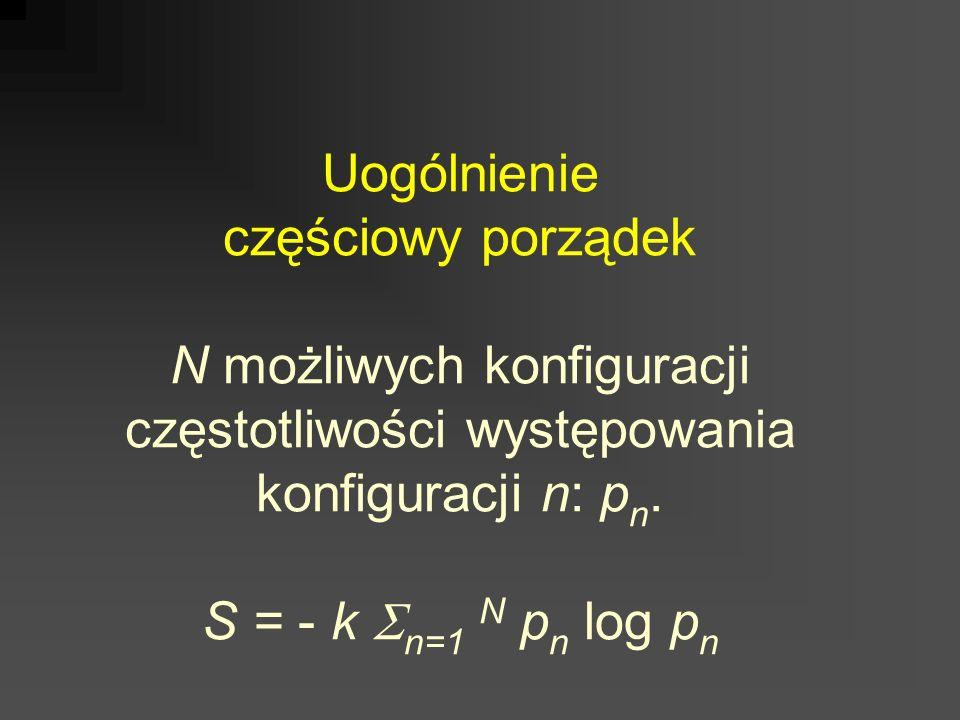 Uogólnienie częściowy porządek N możliwych konfiguracji częstotliwości występowania konfiguracji n: p n. S = - k n=1 N p n log p n