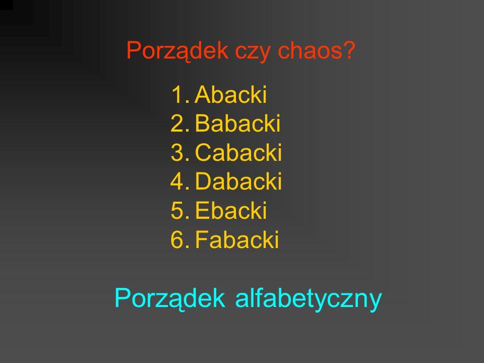 Porządek czy chaos? 1.Abacki 2.Babacki 3.Cabacki 4.Dabacki 5.Ebacki 6.Fabacki Porządek alfabetyczny