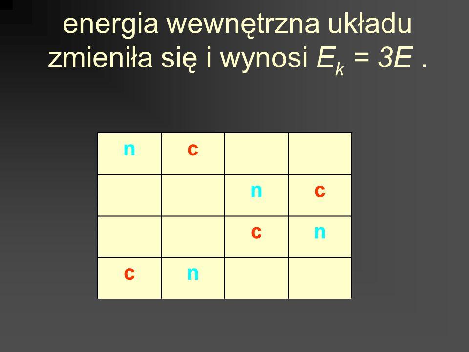 energia wewnętrzna układu zmieniła się i wynosi E k = 3E. nc nc cn cn