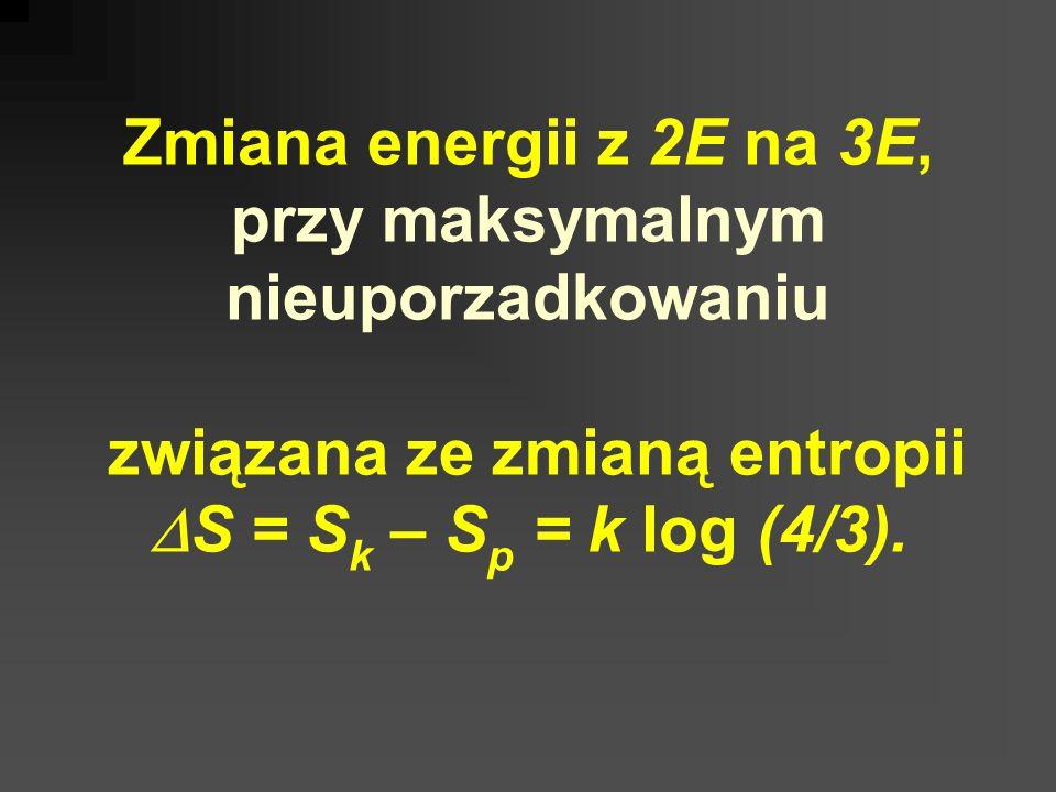 Zmiana energii z 2E na 3E, przy maksymalnym nieuporzadkowaniu związana ze zmianą entropii S = S k – S p = k log (4/3).