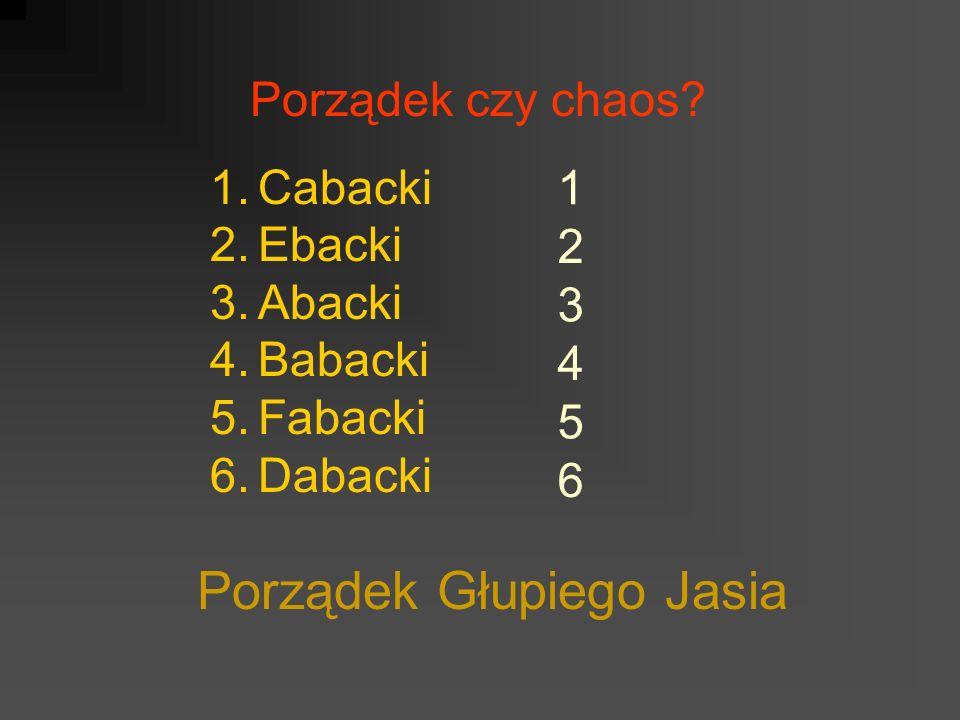 Porządek czy chaos? 1.Cabacki 2.Ebacki 3.Abacki 4.Babacki 5.Fabacki 6.Dabacki Porządek Głupiego Jasia 1 2 3 4 5 6