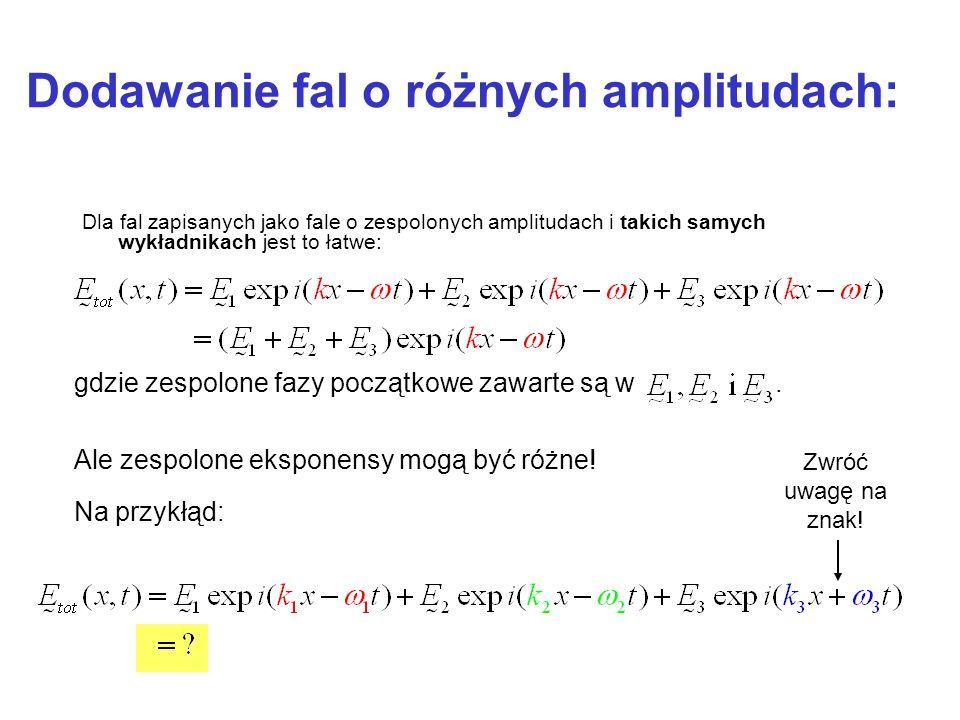 Dodawanie fal o różnych amplitudach: Dla fal zapisanych jako fale o zespolonych amplitudach i takich samych wykładnikach jest to łatwe: Zwróć uwagę na